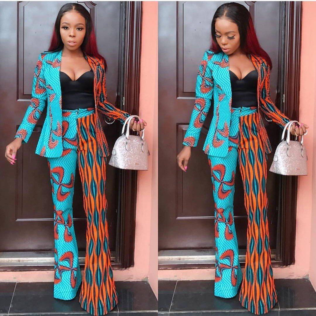 Ankara pant with blazers. We love the versatility of Ankara