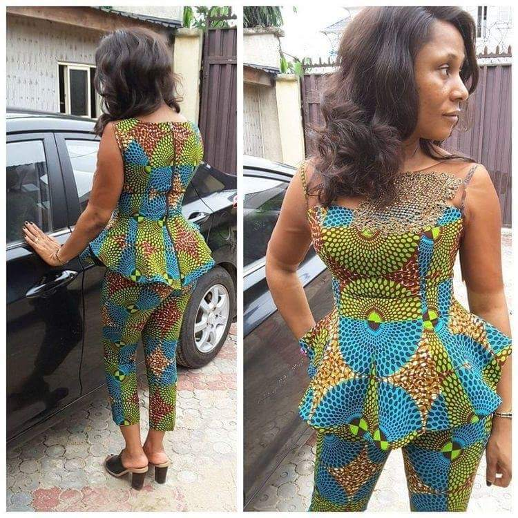 Ankara trouser with peplum blouse