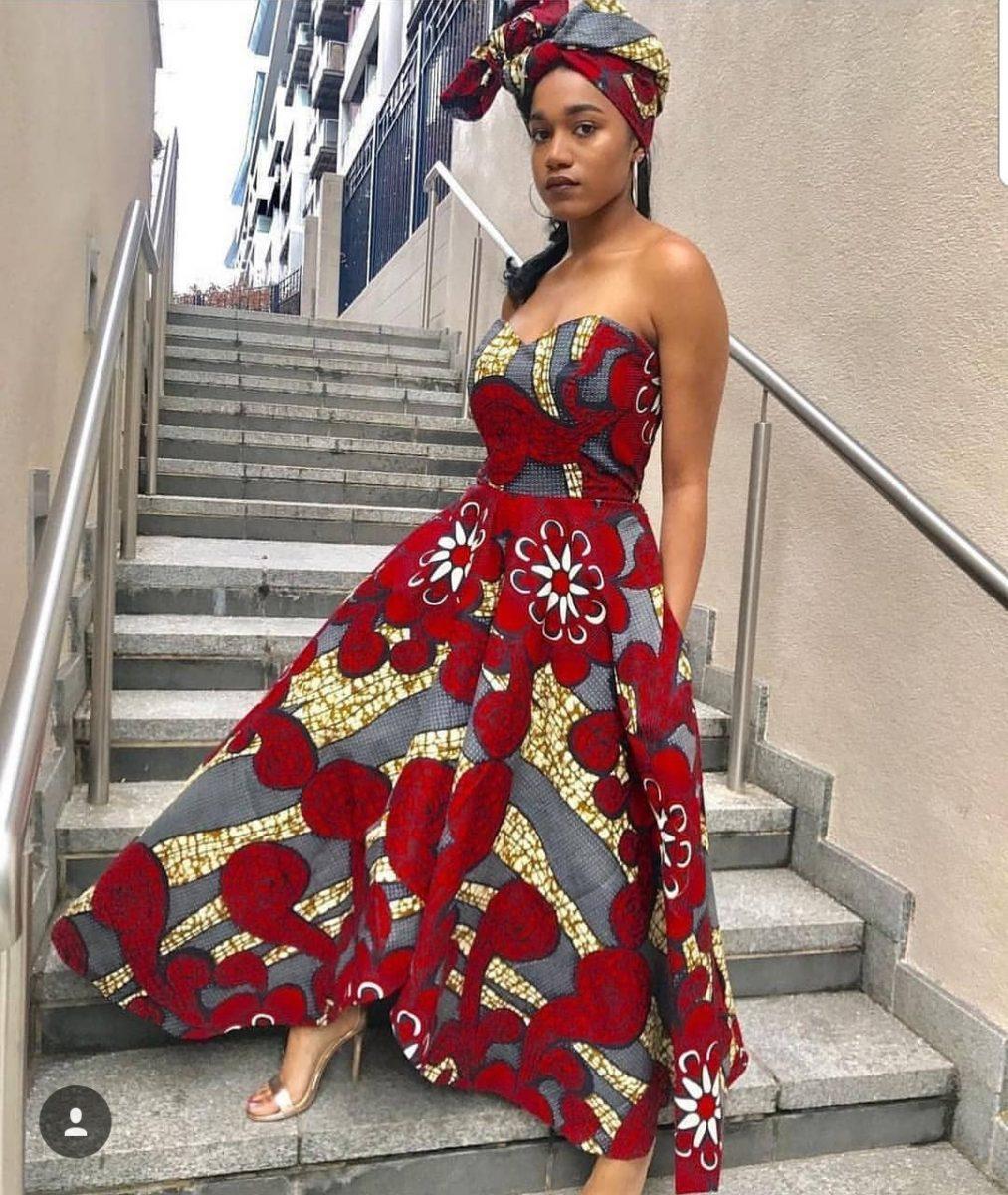 Ankara off shoulder maxi gown