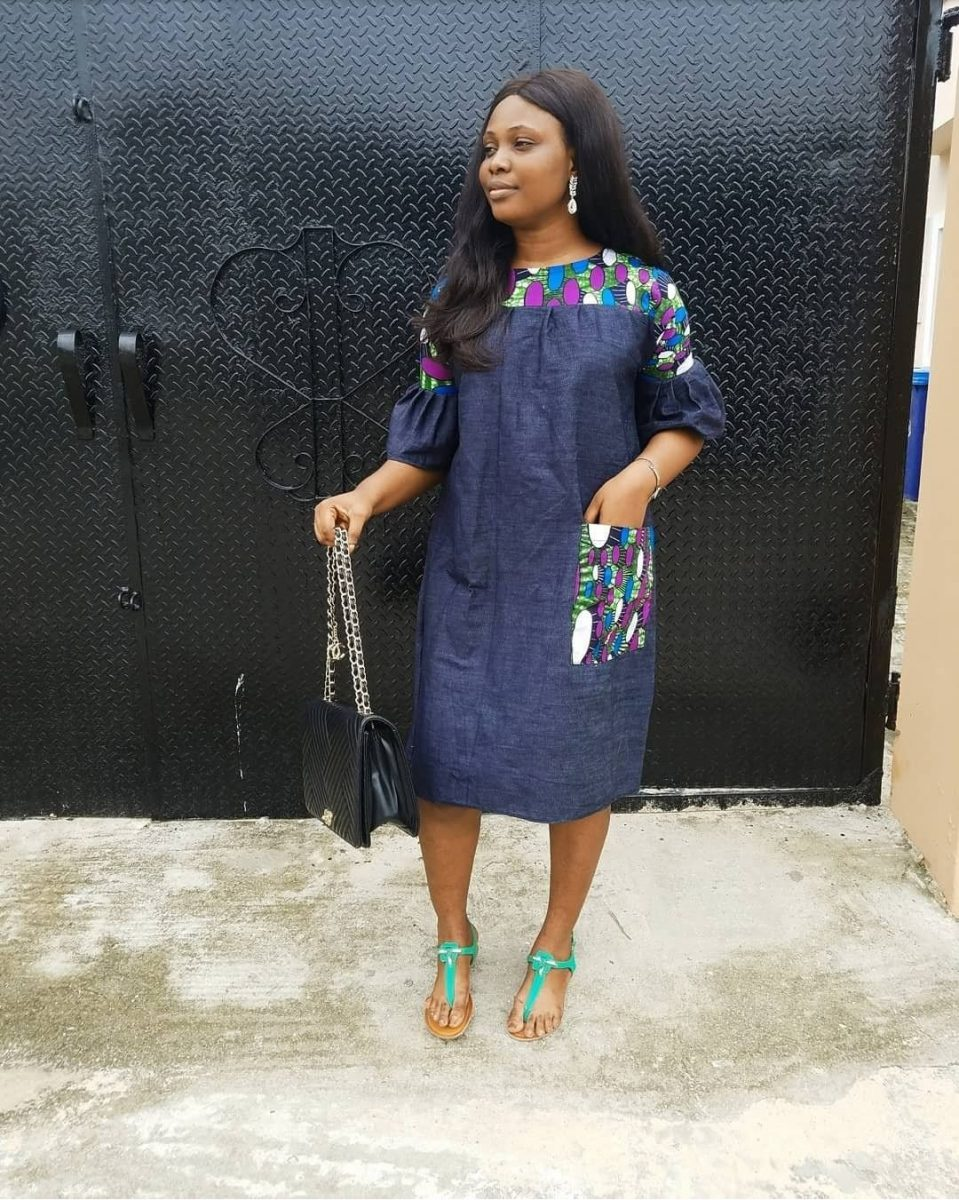 Jeans Gowns With Ankara Patches