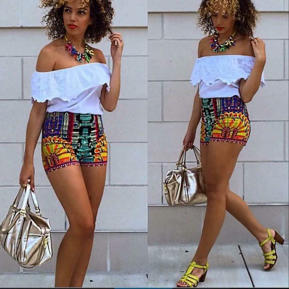 White off shoulder top on Ankara top is everything