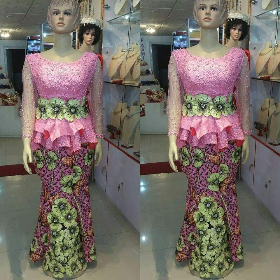 Ankara blouse and lace skirt combination 2018