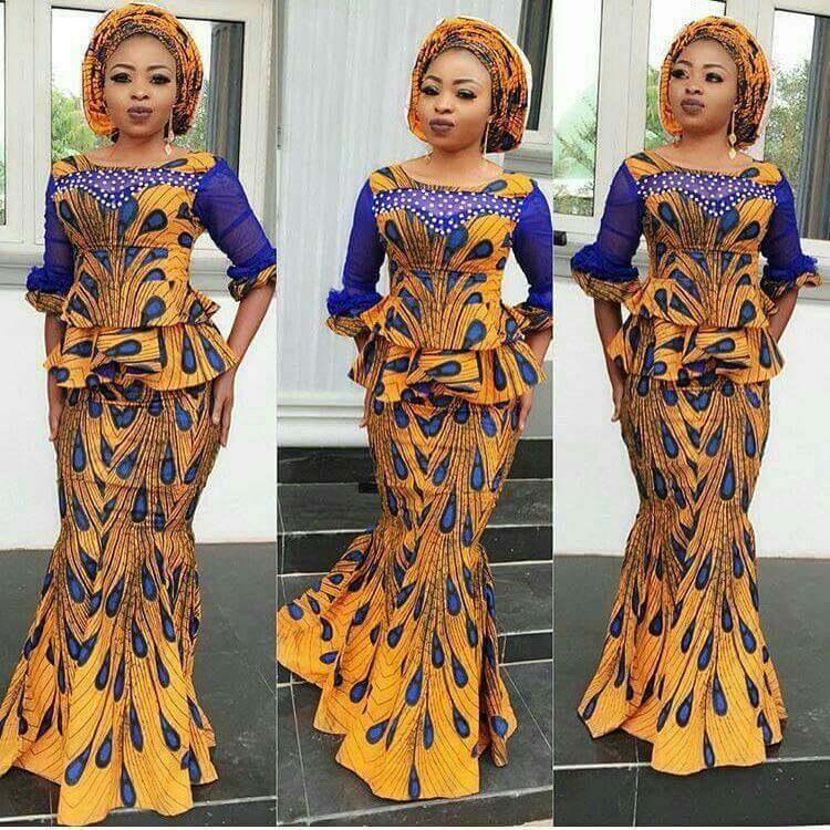 Ankara mermaid skirt and peplum blouse
