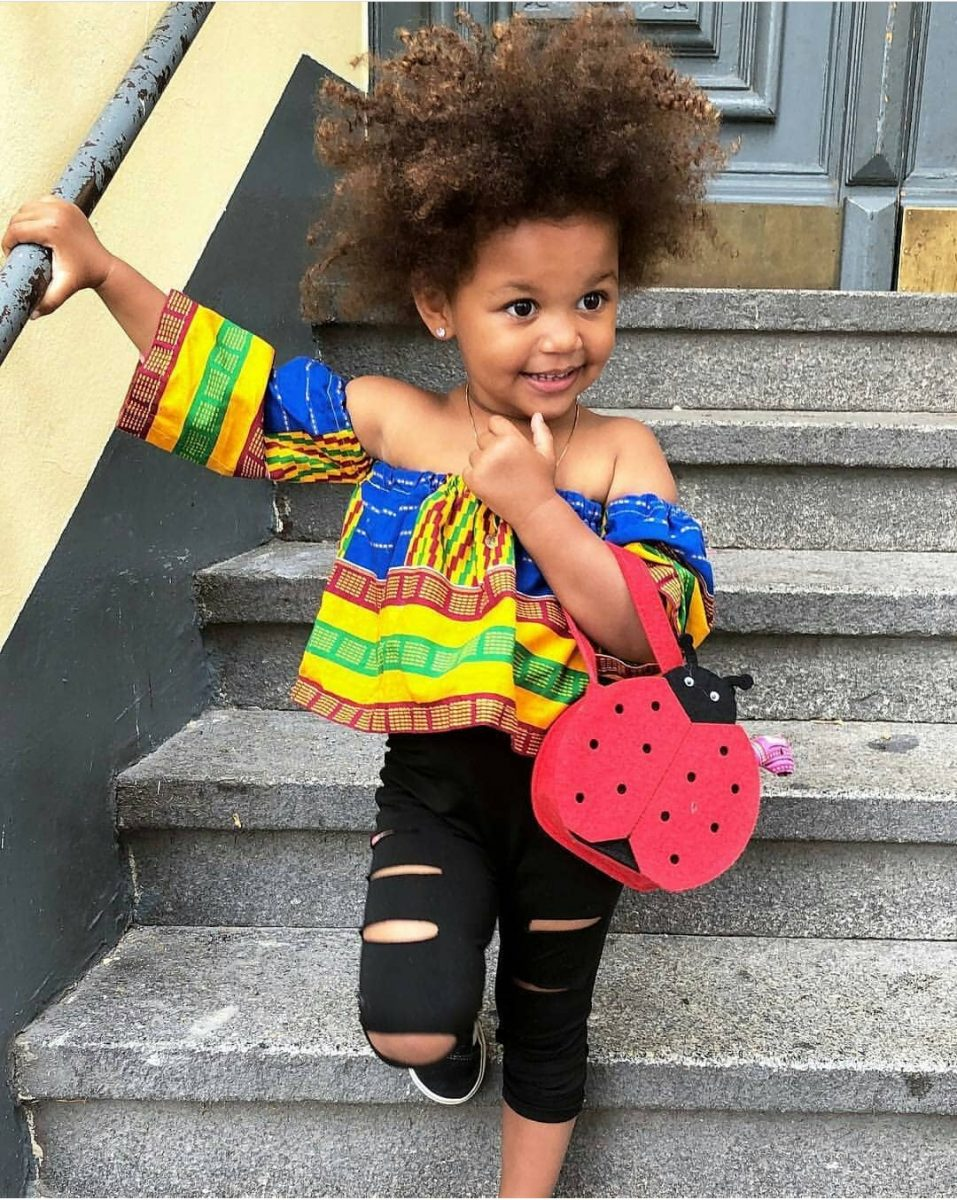 Little Angel looking Fab in this stylish Ankara off shoulder top