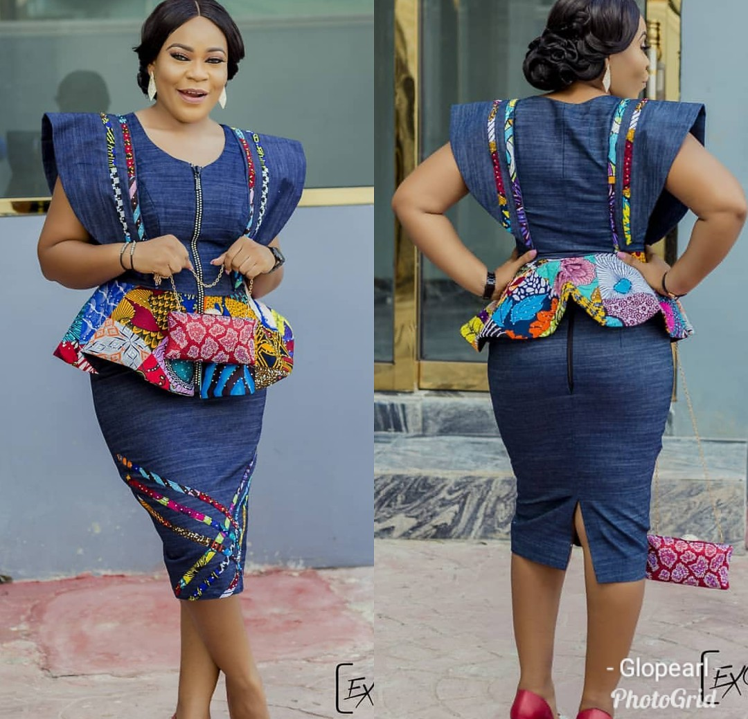 Jean Gown With Ankara Patches