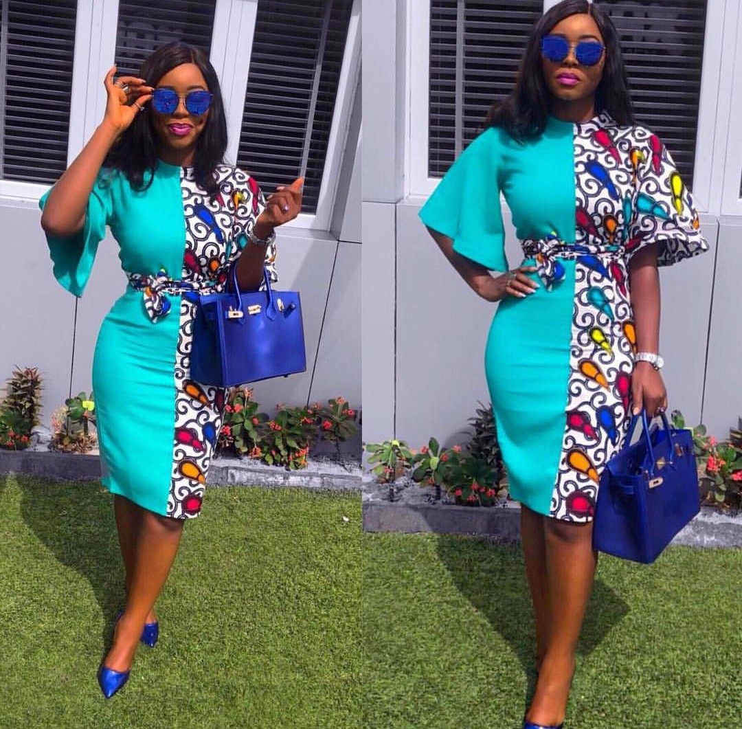 Plain Material With Ankara Patches