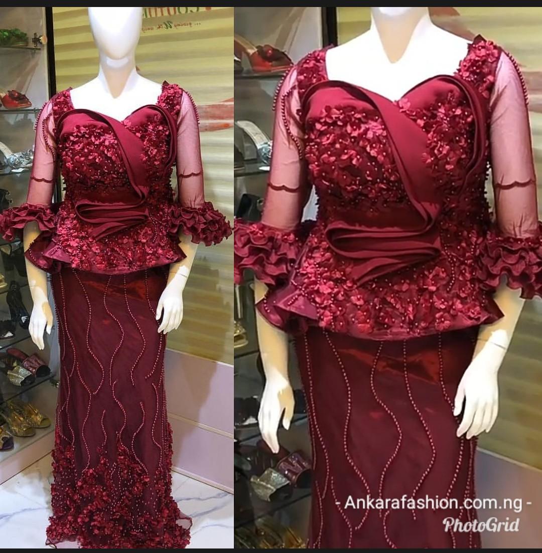 Peplum Lace AsoEbi Skirt & Blouse 2019 For Wedding Guests