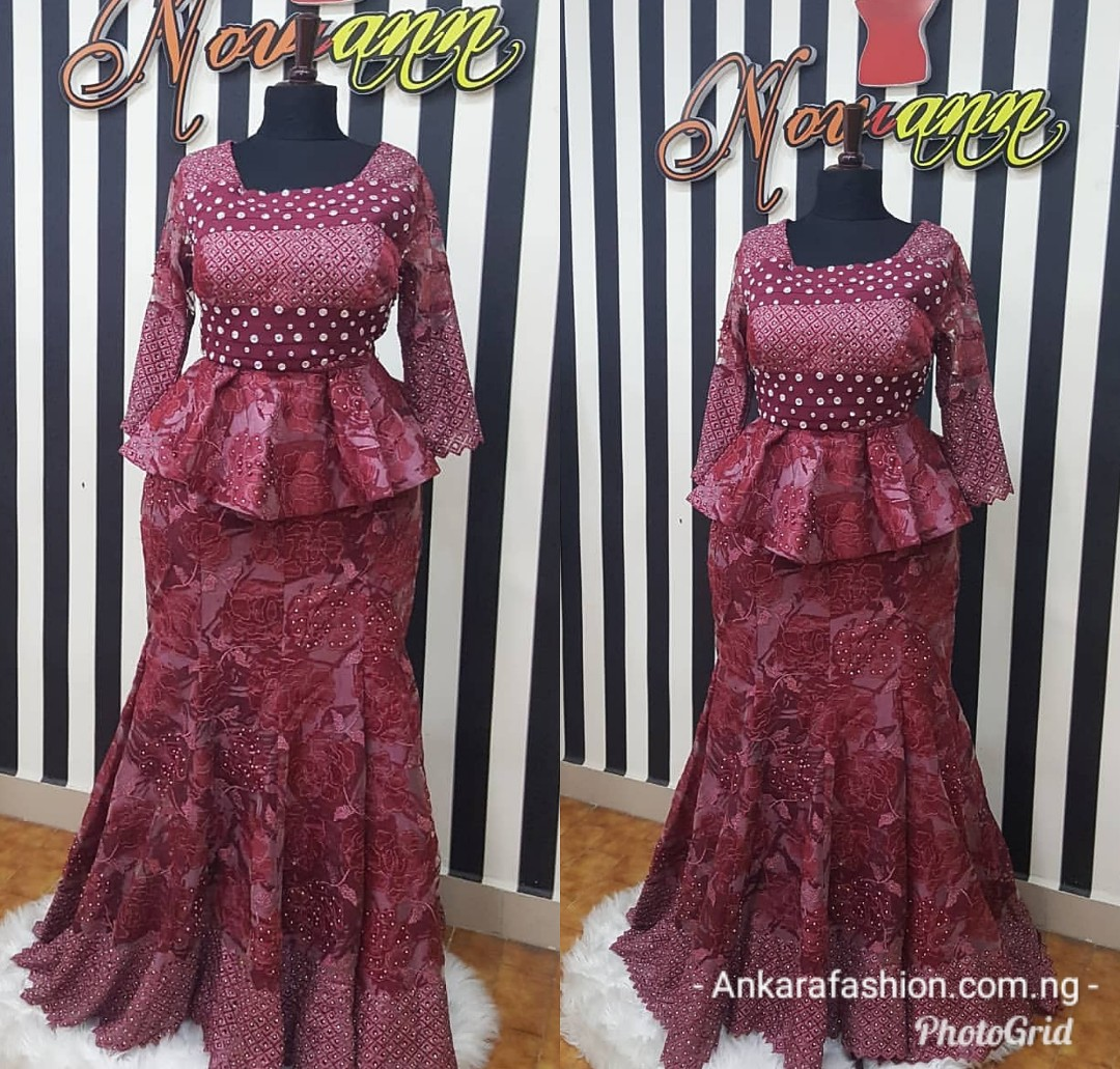 New Lace Skirt & Blouse Style For Nigerian/African Women 20 Styles